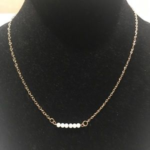 Simple Gold Tone Chain Necklace Pearls Bar Pendant